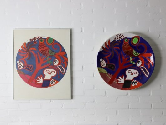 Unique set of a lithography + matching ceramic wall plate by Corneille, 1984