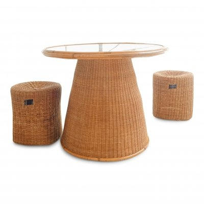 Set of table & two rattan stools, 1970s