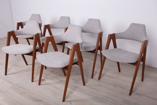 Set of 6 Compass Dining Chairs by Kai Kristiansen for SVA Møbler, 1960s