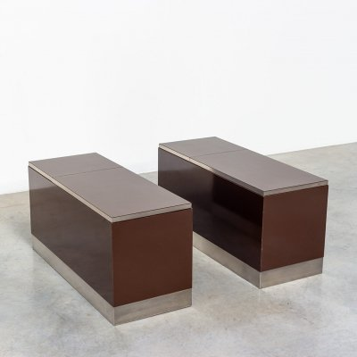 Pair modernist Chocolate brown Formica laminated storage boxes