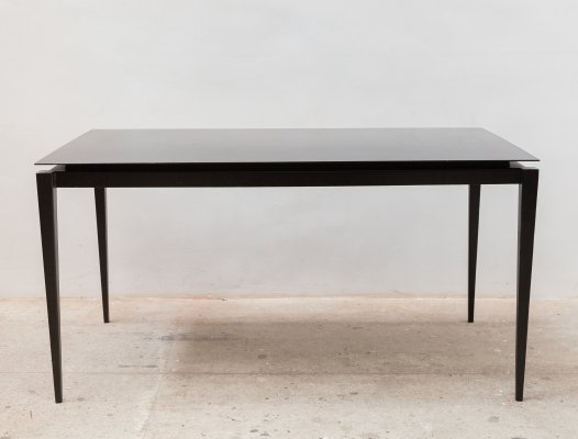 1980s Large Black Lacquered Metal Dining-table by Philippe Starck