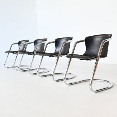 Set of 4 dark brown dining chairs by Metaform, The Netherlands 1970