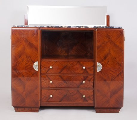 French Art Deco mahogany Sideboard with Marble top & Mirror, 1920s