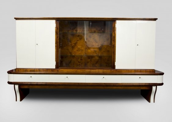 White & Brown Art Deco Display cabinet in Walnut, France 1930s
