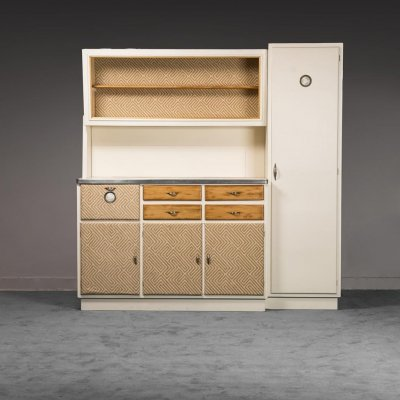 Cabinet in ivory wood & cotton, 1950s