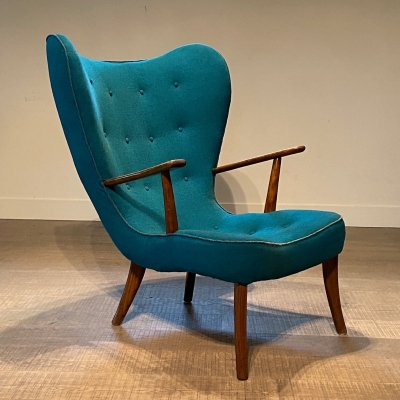 Rare Pragh Wingback Chair by Arnold Madsen & Henry Schubell, 1950s