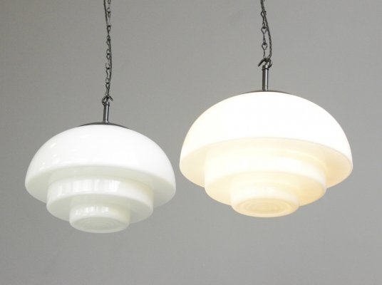 Mithras Opaline Glass Pendant Light by August Walter & Sohne