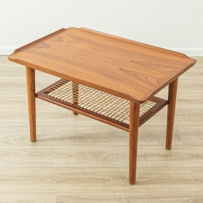 1960s coffee table in teak & cane