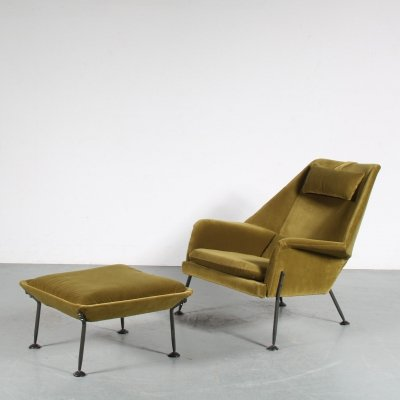 'Heron' Lounge Chair with Stool by Ernest Race for Race Furniture, United Kingdom 1950s