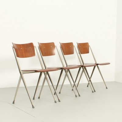 Set of 4 Pyramide Chairs by Wim Rietveld for De Cirkel, 1960s