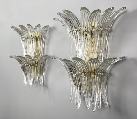 Pair of Palmette Sconces/Wall Lamps by Barovier & Toso, Murano, Italy, 1970s