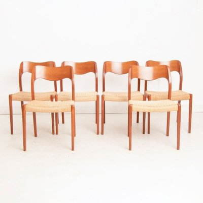 Midcentury Model 71 Teak Dining Chairs by Moller