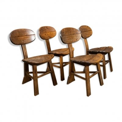 Set of 4 French brutalist dining chairs in oak, 1970s