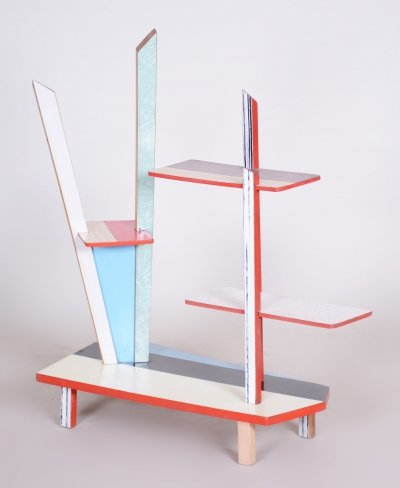 Czech Midcentury Blue & Red Flower Stand in beech & formica, 1950s
