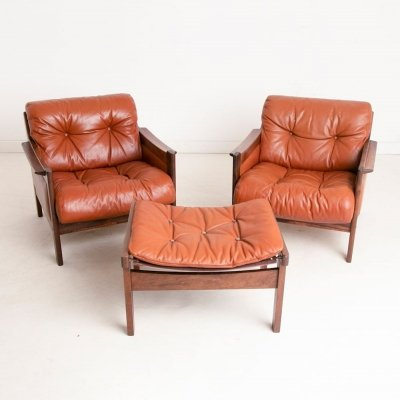 Pair of Rosewood & Leather Lounge Chairs & Footstool, c.1960
