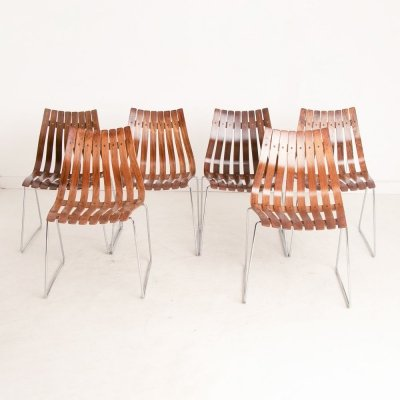 Slatted Rosewood Scandia Dining Chairs by Hans Brattrud for Hove Mobler, c.1960