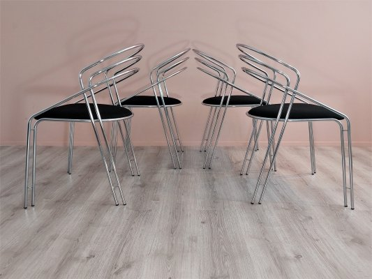 Postmodern Metal Wire Dining Chairs, 1980's