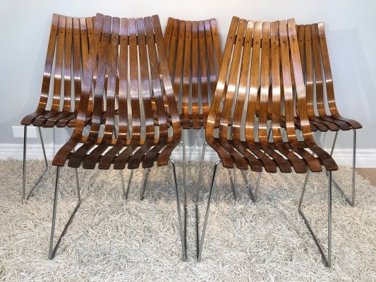 Hans Brattrud 'Scandia' Brazilian Rosewood high back dining chairs, 1960's