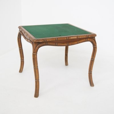 Italian Game Table in Faux Bamboo & Green Fabric by Giorgetti