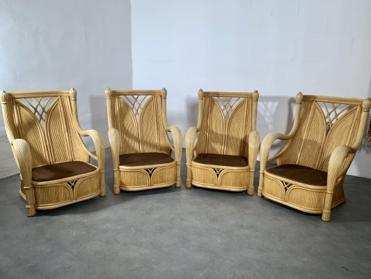 Set of 4 high quality McGuire lounge chairs, 1970's