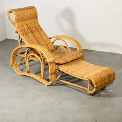 Bamboo seventies lounge chair & slide in ottoman, 70's