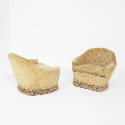 Pair of Italian Yellow Velvet Quilted Armchairs