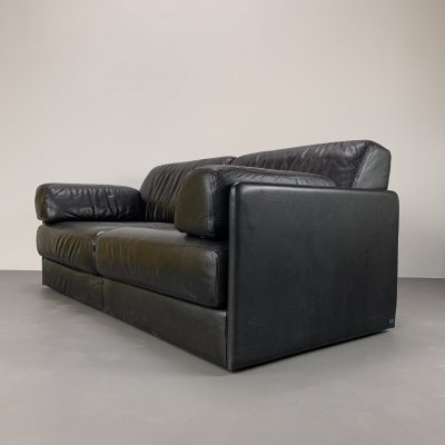 Black 2-seater Leather 'DS 76' Sofa by De Sede, 1980s