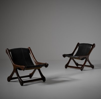 Don Shoemaker Rosewood & Leather 'Sloucher' chairs, Mexico 1950s