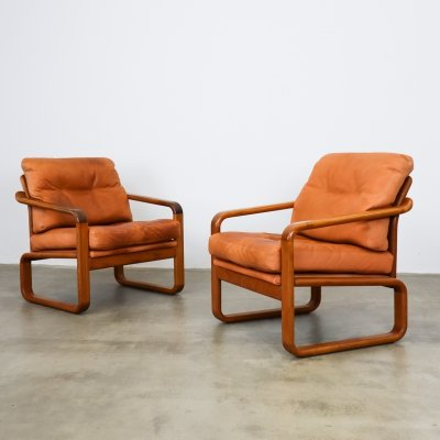 Leather lounge chairs by HS Design, Denmark 1970s