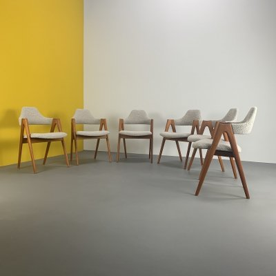 Set of 6 Compass Chairs by Kai Kristiansen for SVA Møbler, 1960s