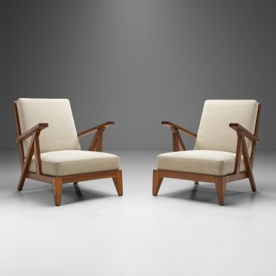 French Reconstructivist Oak Lounge Chairs, France 1950s