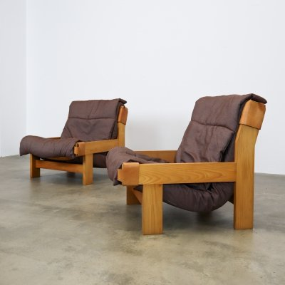 Leather & pine lounge chairs, 1970s