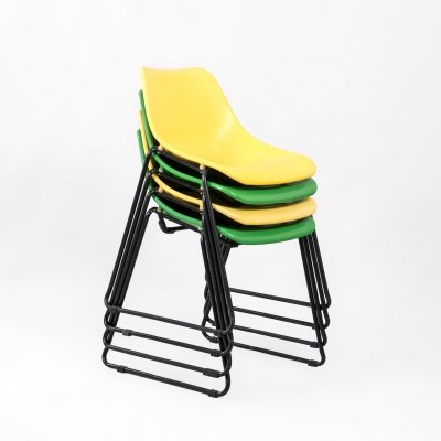 Mid Century Green & Yellow iron stackable chairs, France 1970's