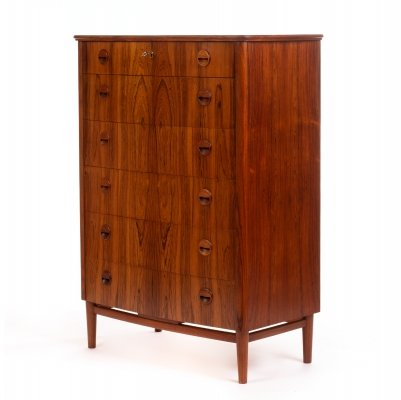 Mid century Danish large rosewood chest of drawers by Kai Kristiansen, 1960s