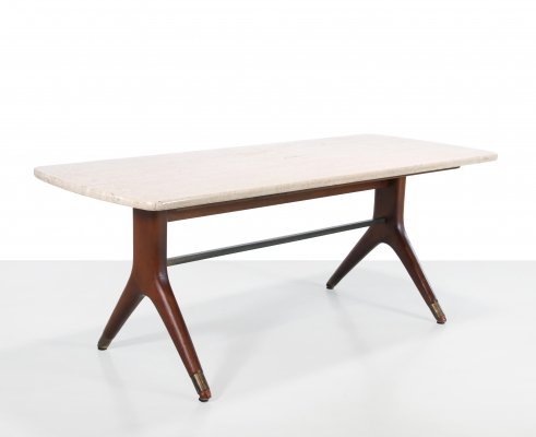 Travertin coffee table with organic shaped wooden base