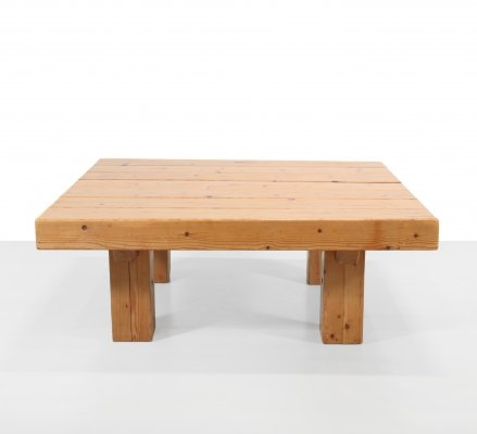 Solid pine brutalist square coffee table, 1970s