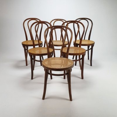 Set of 6 Mid Century Romanian Bentwood & Cane dining chairs, 1960s